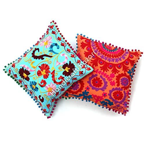 Handicraft Bazar Juego de 2 fundas de cojín Suzani cuadrado de 40,6 x 40,6 cm, fundas de almohada bordadas Suzani fundas de cojín suzani fundas de cojín para sofá o cojín bordado