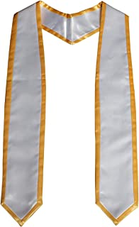 Cap and Gown Direct Plain Graduation Honor Stole Angled End with Trim Unisex Adult 72