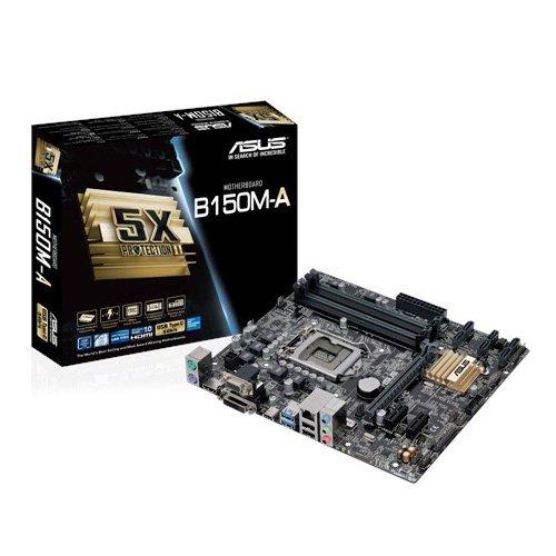 Asus B150M-A Mainboard Sockel 1151 (µATX, Intel B150, 4x DDR4 Speicher, 6x SATA 6Gb/s, 3x USB 3.0, 2x USB 2.0, PCIe 3.0)