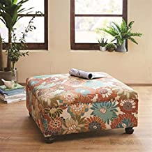 Madison Park Carlyle Coffee Table - Solid Wood Square Large Accent Cocktail Ottoman Modern Style Vibrant Floral Spring Design, Padded Footstool, Extra Seating Corner Chair, Multi Floral