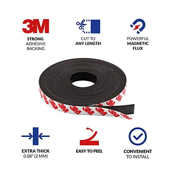 Magnetic tape, 15 feet magnet tape roll (1/2'' wide x 15 ft long), with 3m strong adhesive backing. Perfect for diy, art projects, whiteboards & fridge organization 2 high quality magnet tape: objects weighing up to 1. 5 oz (~50 gram) can be held easily with a short strip. Add several or longer strips for heavier things. 3m strong adhesive backing: premium 3m adhesives are made for sticking quickly and firmly while last for a long time. Ideal for clean, smooth and uniform surfaces. 15 feet magnet tape: big value packed into a strong zip bag for easy storage. Use short strips or for heavier items choose more strips to hold anything in place!