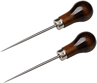EUBags Awl Tool, 2 PCS Gourd Shape Wooden Handle Scratch Awl For Leather Hole Punch Awl Maker Tool