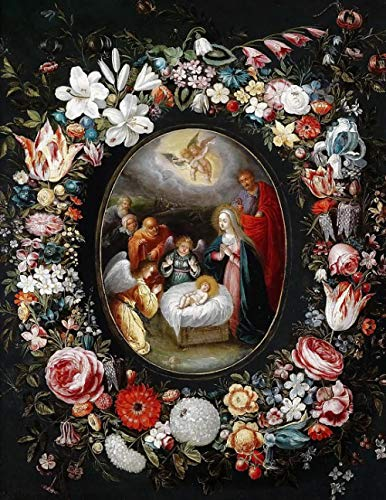 1000 Tablets Jigsaw Puzzle Piece Children's Toys Game Poster Adult Family Decoration Puzzle Wooden Puzzle - Jan Brueghel The Younger – Nativity in a Flower Garland