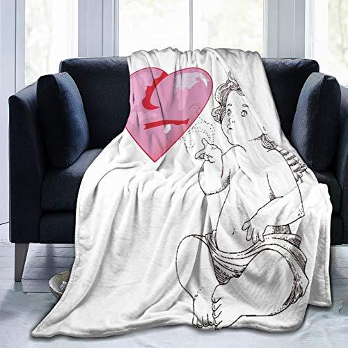LISNIANY Flanell Fleece Soft Throw Decke,Aquarell Akzent Happy Valentinstag Engel und Herzen Vintage Flugzeug Cupid,für Sofas Sofa Stühle Couch Leicht,warm und gemütlich 204x153cm