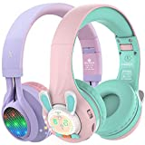 Riwbox WT-7S&RB-7S Kids Headphones Wireless, Bundle 2 Packs Foldable Stereo Bluetooth Headset with Mic and Volume Limited for PC/Laptop/Tablet/iPad