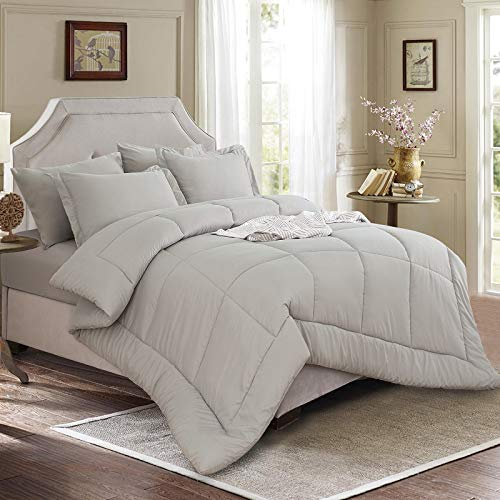 EMME Comforter Set Twin Bed in A Bag 5 Piece Luxurious Brushed Bed Comforter Microfiber Goose Down Alternative Comforter Soft and Comfortable Machine Washable (Twin/Twin XL, Grey)