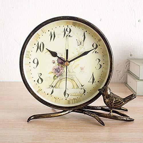 XFSE Reloj despertador vintage de hierro forjado reloj de mesa estantería sala de estar porche decoración relojes ultra silencioso dormitorio vintage reloj de mesa