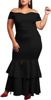 AlineMyer Women Plus Size Off Shoulder Ruffle Formal Cocktail Mermaid Evening Dress