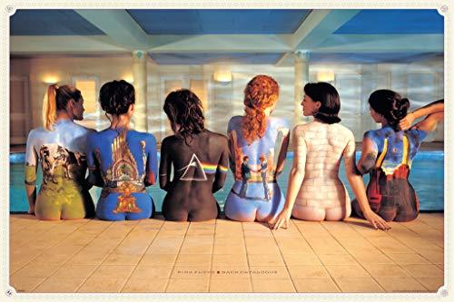 Pink Floyd, maxi poster con catalogo della discografia disegnato su schiene di ragazze,61cm x 91.5cm