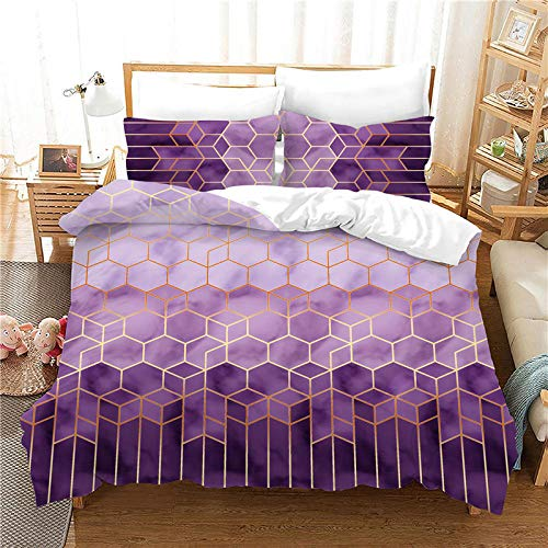 AHKGGM Duvet Cover Set Single Purple geometric marble Bedding Set 3 Piece Ultra Soft Printed Quilt Cover Set - 1 Duvet Cover & 2 Pillow Case Microfiber With zipper Comforter Cover Set