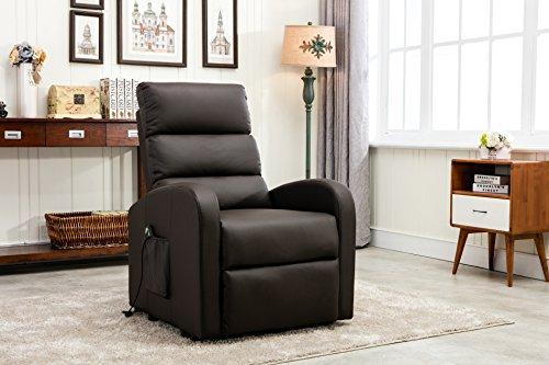 Divano Roma Furniture REC17 Recliner, Brown