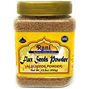 Rani Flax Seeds PARRani Flax Seeds Whole Raw (Alsi, Linum usitatissimum) 15.8oz (450g) PET Jar | All Natural ~ Gluten Free Ingredients | NON-GMO | Vegan | Indian OriginENT (15.8oz (450g) ~ Powder)