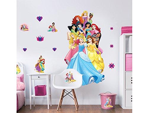 Walltastic Raumaufkleber mit großen Figuren von Disney Prinzessinnen Wandaufkleber, Polypropylene, Multi, 6 ft Tall, 3 Large Sheets