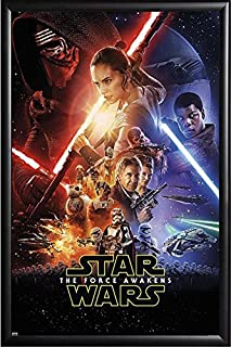 Framed The Force Awakens Theatrical One Sheet 24x36 Poster in Basic Black Detail Wood Frame