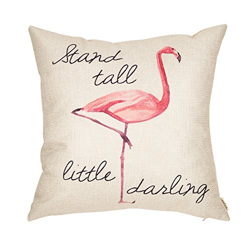 Fjfz Stand Tall Little Darling Watercolor Flamingo Motivational Sign Inspirational Quote Cotton Linen Home Decorative Throw Pillow Case Cushion Cover Sofa Couch, 18' x 18'