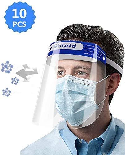 5 PCS Unisex Reutilizable Safety Face Shield Anti-fog Spray Proof Ajustable Transparent Full Face Transpirable Protective Visor Cover Anti-Spitting Splash con una esponja c/ómoda