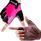 boildeg Guantes de Ciclismo de Bicicleta Guantes de Bicicleta de Carretera de Medio-Dedo para Hombres Mujeres Acolchado Antideslizante Transpirable (Rosa, L)