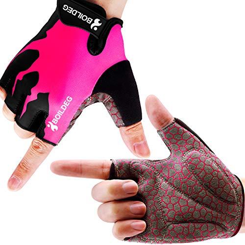 boildeg Guantes de Ciclismo de Bicicleta Guantes de Bicicleta de Carretera de Medio-Dedo para Hombres Mujeres Acolchado Antideslizante Transpirable (Rosa, S)