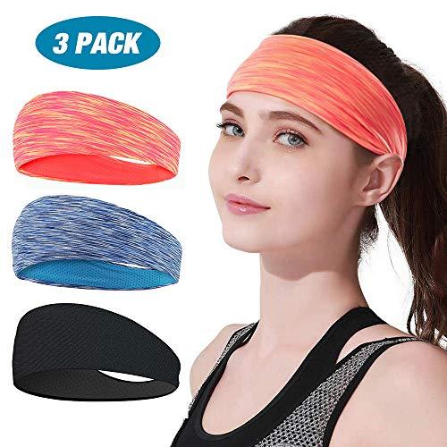 Stirnband Damen Sport 3er Pack, LATTCURE Stirnband, Haarband, Damen Kopfband, Kopfbedeckung, Turban Winter Stirnband für Alltag Yoga Sport Fitness, weich, Anti-Rutsch