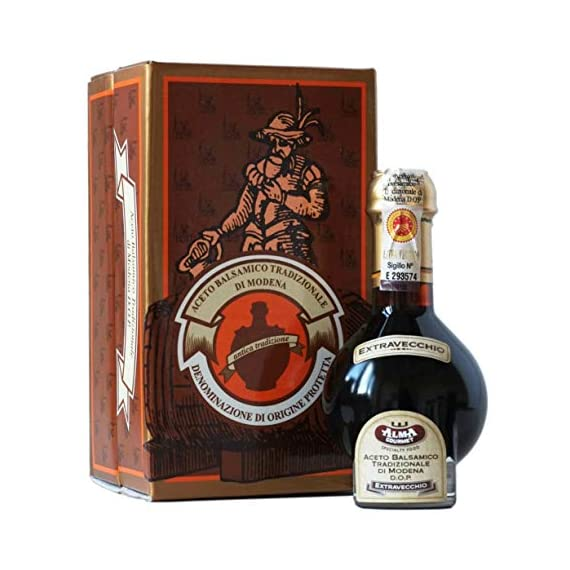 25 Year Aged Extravecchio Traditional Balsamic Vinegar of Modena D.O.P. | Original Aged Artisanal Italian Aceto… 1 SUPERIOR QUALITY BALSAMIC VINEGAR IMPORTED FROM ITALY. The ageing process is prolonged for 25 years to give the product a strong personality, able to exalt any dish with just a few drops. TESTED AND VALIDATED BY THE EXPERTS OF THE CONSORTIUM FOR THE PROTECTION OF TRADITIONAL BALSAMIC VINEGAR BEFORE BEING BOTTLED. Obtained by traditional methods from Trebbiano and Lambrusco grapes grown in the Modena area in a long ageing process in barrels of different wood kinds: oak, chestnut, cherry, juniper and mulberry. Human sensibility and expertise allow to measure out the ageing process in a balanced way to obtain a superior quality product AGING PROCESS. Traditional Balsamic Vinegar of Modena 25 years is obtained from cooked grape must, matured by slow acidification through natural fermentation and progressive concentration in a long ageing process in barrels of different wood kinds, without adding any flavors.