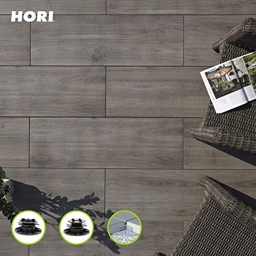 HORI® Terrassenplatte Grigio Grau Feinsteinzeug I Komplettset inkl. Verlegehilfe I Fläche: 1 Terrassenplatte I 1 Terrassenplatte