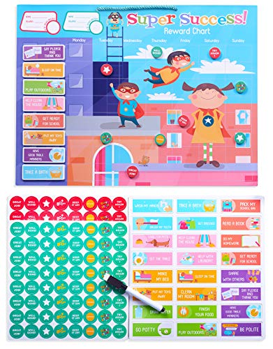 """LifeStencil Magnetic 16x12"""" Refrigerator Chore Charts for Kids Age 3-9 - 112 Rewards, 24 Chores - Dry Erase Behavior Chart For Boys & Girls – Reward Chart for Multiple Kids - Responsibility Chart"""