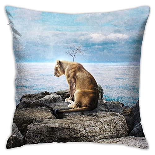 XCNGG Lioness-Wallpaper Throw Pillow Case Decorativo para el hogar para Sala de Estar Dormitorio Sofá Silla 18X18 Pulgadas Funda de Almohada 45X45cm