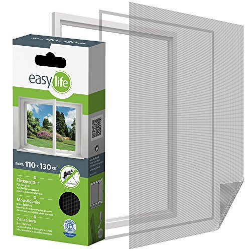 easy life Insektenschutzgitter für Fenster inkl. Klettband 110 x 130 cm anthrazit