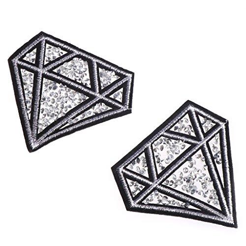 bibididi 2 Piezas de Parches de Diamantes de perforación en Caliente Parches Bordados de Hierro para Ropa DIY