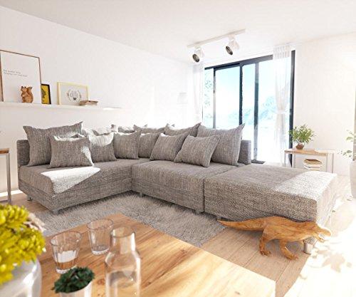 DELIFE Couch Clovis modular - Ecksofa, Sofa, Wohnlandschaft & Modulsofa (Hellgrau, Ecksofa Links mit Hocker)