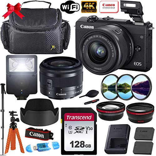 Canon EOS M200 Mirrorless Digital Camera 4K with 15-45mm f/3.5-6.3 is STM Lens (Black) + Photo Accessory Bundle (Includes: 128GB Memory Card, Digital Flash, Sturdy Equipment Carrying Case and More.)