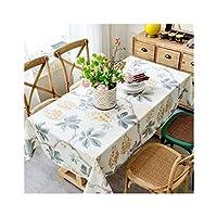 テーブルクロス 長方形テーブルクロス、アメリカの牧歌コーヒーテーブルテーブルクロス寮のベッドサイドテーブル正方形のテーブルクロス長方形のテーブルクロス布綿小さな新鮮な (Color : Yellow, Size : 130*240cm)
