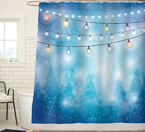 Serene Blue Forest and Colorful Lights Trees Christmas Theme Shower Curtain Bathroom Home Office Holiday Wall Decoration as Tapestry and Photo Booth Backdrop