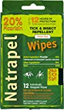 Natrapel Mosquito, Tick and Insect Repellent Wipes, 12 Individually-Wrapped Wipes, 0006-6095
