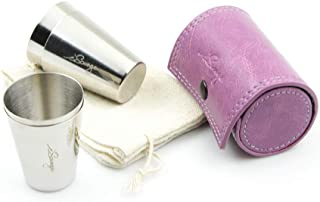 iSavage Shot Glasses with Light Purple Leather Case 1.2oz Each Set of 4 18/8 Stainless Steel, 1pc Cloth Bag-YM207