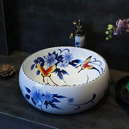 Allamp Modern Arte de cerámica Lavabo Lavabo Contrario Lavabo Fregadero Azul Arte Chino y Blanco de Lavado de cerámica Cuenca Bathroom Sink