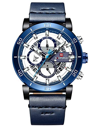 Naviforce - NF9131 - Orologio da polso al quarzo analogico moda uomo, cinturino in pelle, impermeabile (Cinturino: blu/indice: argento)