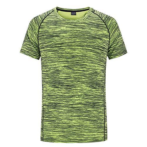 Lwieui Mens Ropa de Gimnasia Camiseta Deportiva de Manga Corta, Transpirable y de Secado rápido para Correr al Aire Libre Camisas y Camisetas (Color : Green-Male, Size : M)