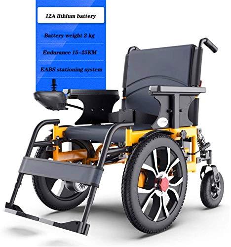 Silla de Ruedas eléctrica Plegable, Silla de ruedas, silla de ruedas inteligente Potente doble alimentación del motor eléctrico silla de ruedas plegable de peso ligero de ancianos discapacitados en la