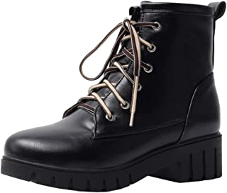 ELEEMEE Women Block Heel Martin Boots Lace Up