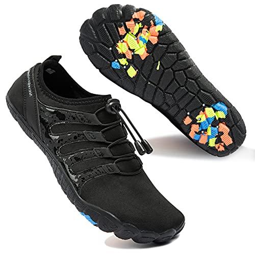 Zapatos de Agua para Hombre Transpirable Secado Rápido de Surf Escarpines Antideslizantes Calzado de Deportes Acuáticos Buceo, Negro, 42 EU