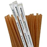 50 pack Agave Fiber Straws Individually Wrapped Alternative to Plastic Paper Straws, Plant Based (8 inch)