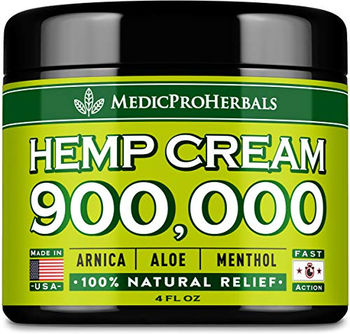 Рain Relief Hemp Cream 900,000 | 4oz - Made in USA - Natural Joint, Arthritis & Back Рain Support - Hemp Extract Cream for Inflammation - Arnica, MSM, Turmeric - Best for Skin Health