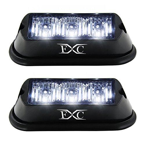 (2PCS) 3-LED Strobe Light White Waterproof Emergency Beacon Flash Lights,Purishion Caution Bar 12 Different Flashing Car SUV Pickup Truck Van