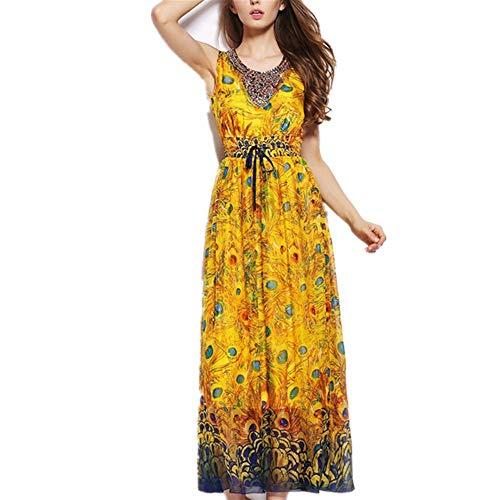 Vestido de playa de vacaciones de las mujeres Estilo étnico Pavo real...