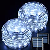 JMEXSUSS (Upgraded) 2 Pack Each 200 LED White Fairy Lights Solar Powered Outdoor Waterproof,Super Bright 66ft Solar Fairy Lights Outdoor, 8 Modes PVC Coating Solar String Lights for Christmas