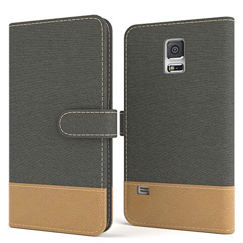 EAZY CASE Tasche kompatibel mit Samsung Galaxy S5/LTE+/Duos/Neo Stoff Schutzhülle mit Standfunktion Klapphülle Bookstyle, Handytasche Handyhülle, Magnetverschluss, Kartenfach, Kunstleder, Anthrazit