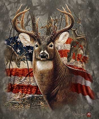 "50"" x 80"" Blanket Comfort Warmth Soft Cozy Air Conditioning Easy Care Machine Wash Americana Flag Deer"