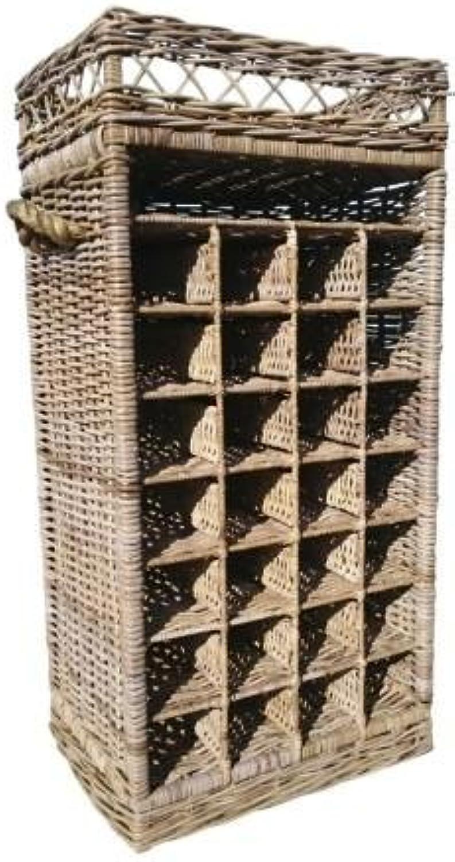 SIDANO Weinregal Flaschenregal für 28 Flaschen aus Kubu grau Rattan, 50x37x108 cm