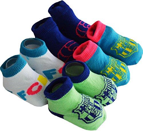 Regalo bebé–4pares de calcetines Barca–Colección oficial FC Barcelona–Talla bebé niño, Bebé niño, azul